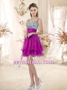 2016 Hot Sale Straps Short Bridesmaid Fuchsia Dresses with Sequins