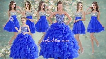 Big Puffy Beaded Blue Quinceanera Dress and Sequined Short Dama Dresses Ruffled Mini Quinceanera Dress