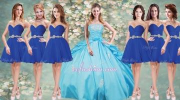 Fashionable Applique Aqua Blue Quinceanera Dress and Short Blue Dama Dresses