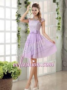 2015 Chiffon Bridesmaid Dress with Ruching Bowknot