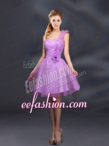 2015 Lilac Hand Made Flowers A Line One Shoulder Bridesmaid Dresses