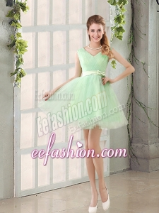 2015 Natural Organza A Line Belt Bridesmaid Dress