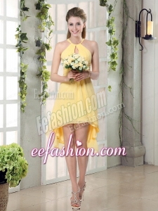 New Fashion Halter Top Asymmetrical Bridesmaid Dress