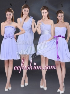 2015 Elegant Chiffon Lace Up Bridesmaid Dress in Lavender