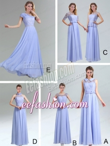 2015 Modest Belt Empire Bridesmaid Dress in Lavender