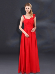 2015 Ruching Empire Bridesmaid Dresses with Asymmetrical