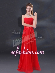 2015 Ruching Empire Bridesmaid Dresses with Belt