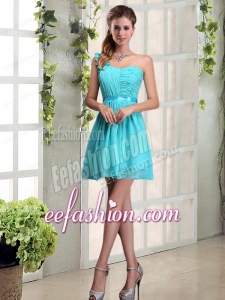 A Line One Shoulder Ruching Bridesmaid Dress with Belt