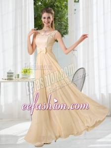 Bateau Empire Bridesmaid Dress with Lace and Belt