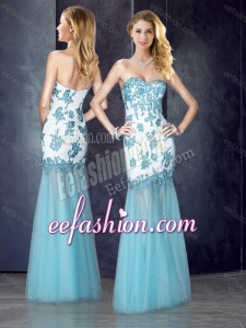 2016 Beautiful Column Applique Aqua Blue Cheap Prom Dress in Tulle