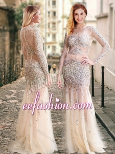 2016 Column High Neck Beaded Champagne Cheap Prom Dress with Long Sleeves