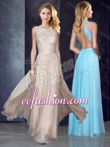2016 Elegant Scoop Criss Cross Applique Cheap Prom Dress in Champagne