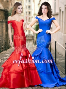 2016 Latest Off the Shoulder Mermaid Cheap Prom Dress with Ruching