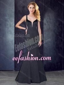 2016 Mermaid Straps Satin Black Cheap Prom Dress with See Through Back
