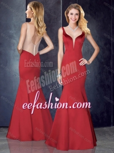 2016 Mermaid Straps Satin Red Bridesmaid Dress with See Through Back