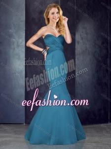 2016 Mermaid Sweetheart Backless Satin Bridesmaid Dress in Teal