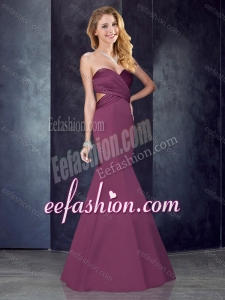 2016 Mermaid Sweetheart Backless Satin Cheap Prom Dress in Burgundy