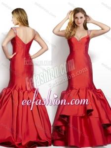 2016 Modest Mermaid Beaded Decorated Cap Sleeves Wine Red Cheap Prom Dress in Taffeta