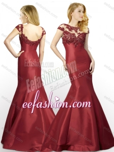 2016 New Arrivals Applique Mermaid Brush Train Satin Cheap Prom Dress in Wine Red