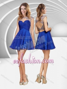 2016 Popular See Through Beaded and Ruched Blue Short Cheap Prom Dress with Open Back