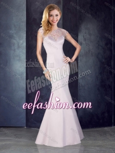 2016 See Through Back Beaded Mermaid Champagne Cheap Prom Dress in Satin