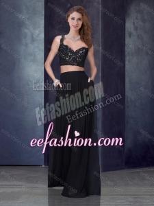 2016 Two Piece Column Straps Applique Bridesmaid Dress in Black