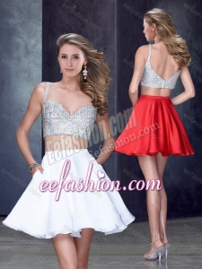 2016 Two Piece Straps White Short Cheap Prom Dress with Beading