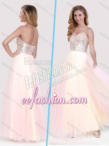 2016 Classical Beaded Bodice Empire Baby Pink Long Dama Dress in Tulle
