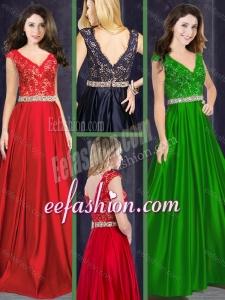 2016 Classical Empire V Neck Beaded and Laced Dama Dress in Taffeta