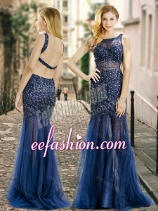 2016 Column Square Beaded Backless Navy Blue Prom Dress in Tulle