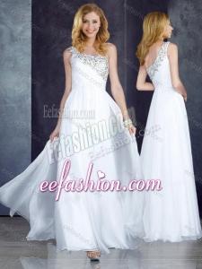 2016 Custom Fit Empire One Shoulder Beaded White Dama Dress