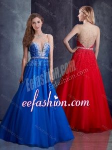 2016 Exquisite A Line Belted with Beading Dama Dress with Side Zipper