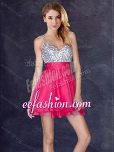 2016 Fashionable Sequined Backless Short Dama Dress in Hot Pink