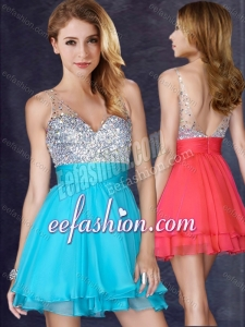 2016 Formal A Line V Neck Sequined Aqua Blue Short Prom Dress