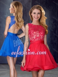 2016 Hot Sale Scoop Backless Red Dama Dress with Appliques and Belt