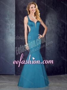 2016 Mermaid Straps Teal Satin Formal Prom Dress with See Through Back