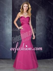 2016 Mermaid Sweetheart Backless Hot Pink Dama Dress in Satin