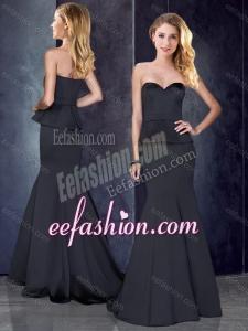 2016 Mermaid Sweetheart Satin Formal Prom Dress in Black with Brush Train