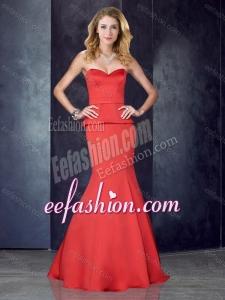 2016 Mermaid Sweetheart Satin Red Dama Dress with Brush Train