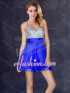 2016 Modern Sequined A Line Short Dama Dress in Royal Blue