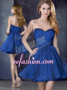 2016 Most Popular Royal Blue Short Dama Dress with Belt