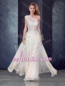 2016 One Shoulder Applique Champagne Dama Dress with See Through Back