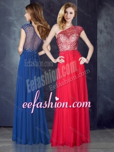 2016 One Shoulder Beaded Coral Red Dama Dress with See Through Back