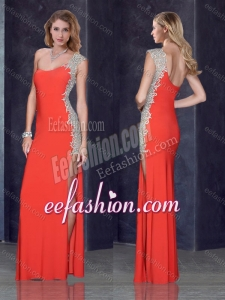 2016 One Shoulder Red Dama Dress with Beading and Appliques