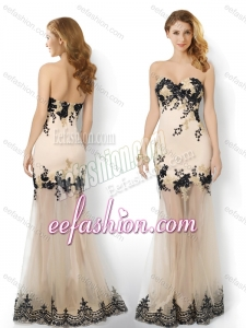 2016 Popular Tulle Column Applique Dama Dress in Champagne