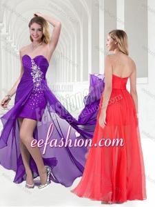 2016 Pretty Beaded Empire Chiffon Long Dama Dress in Purple