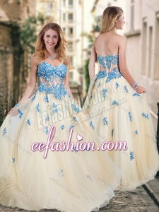 2016 Pretty Visible Boning Tulle Champagne Dama Dress with Blue Appliques