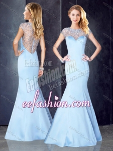 2016 See Through Back Beaded Light Blue Stylish Prom Dress with Cap Sleeves