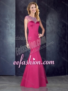 2016 See Through Back Satin Beaded Formal Prom Dress in Hot Pink