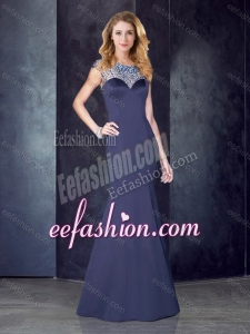 2016 See Through Back Satin Beaded Stylish Prom Dress in Navy Blue